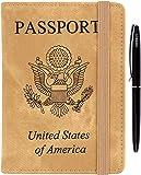 护照夹套 - 皮革 RFID 屏蔽女士男士带赠笔