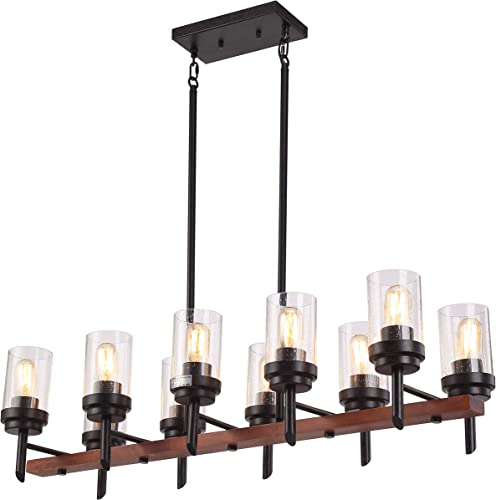 41 10 Lights Rectangular Pendant Lighting Chandeliers Kitchen Wood Distressed Black and Wood Rustic Lodge Kitchen Island Light with Seeded Shade