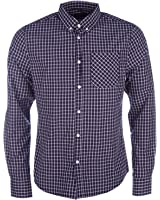 Mens D-Struct Mens Long Sleeve Checked Shirt in Navy