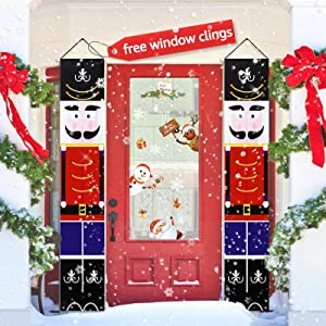 GXAO Nutcracker Christmas Decorations, Outdoor Xmas Decor, Soldier Model Nutcracker Banners for Front Door Porch Garden Indoor Exterior Kids Party, with 83 PCS Free Window Clings