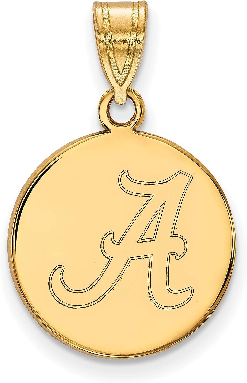 University of Alabama Crimson Tide School Letter on Disc Pendant Gold Plated 16x15mm