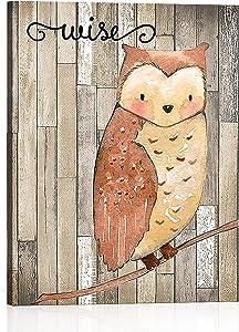 Painting Animals Wall Art Woodland Nursery Decor, Baby Boy Forest Animal Creatures Owl Wall Art, Canvas Wall Art Rustic Prints Room Decor Modern Artwork for Bedroom Living Room (Unframed, 12
