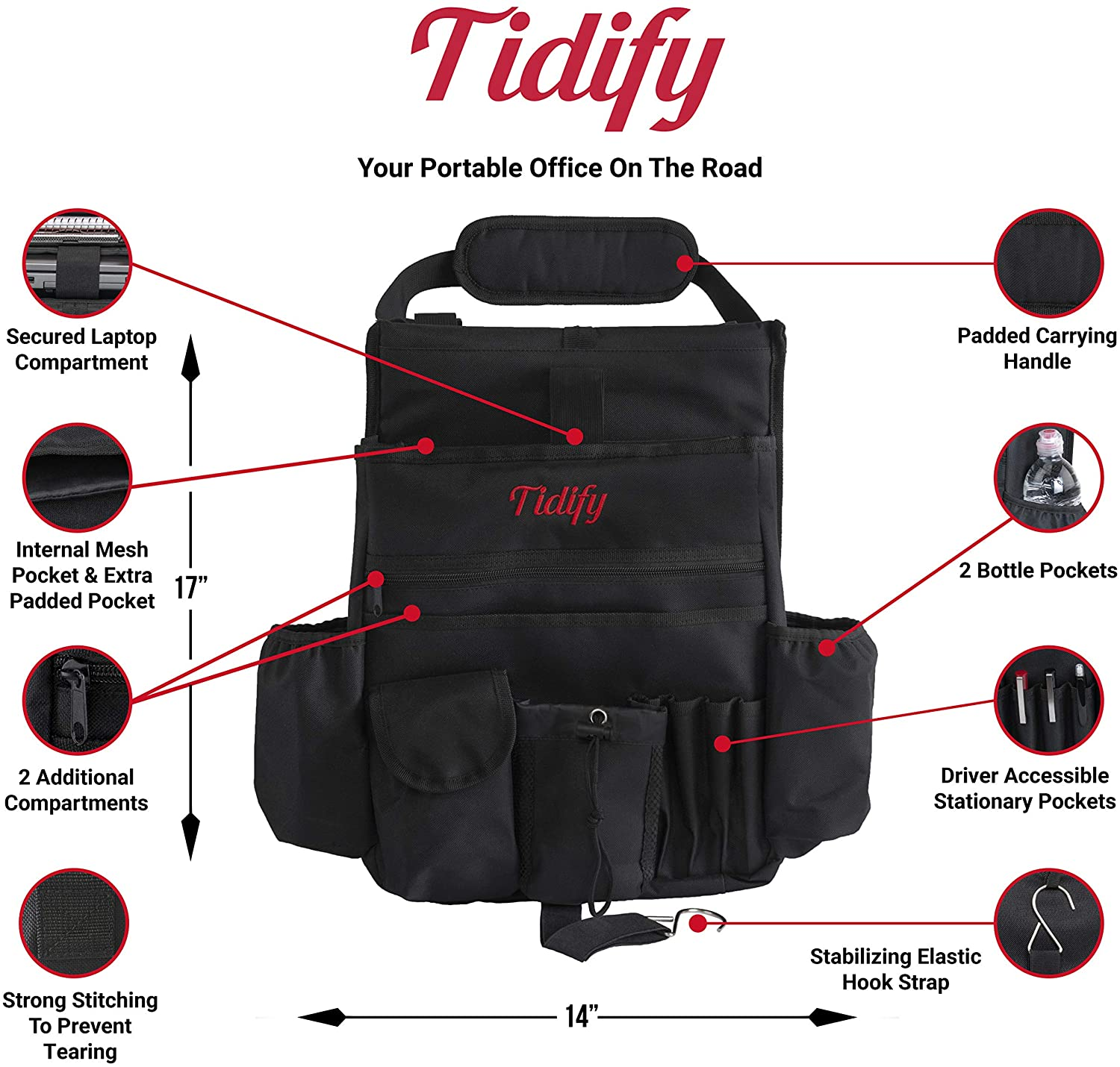 Soft Adjustable Shoulder Strap and Hardened Buckles Your Office Away from Office Stabilizing Side Straps Dedicated Tablet//Laptop Storage Tidify Car Front Seat Organizer with Rain//Stealth Cover