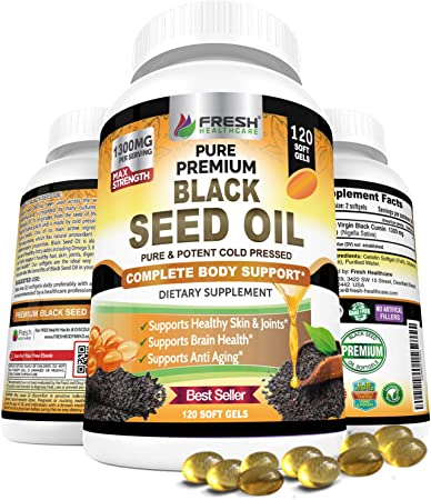 Black Seed Oil Capsules Cold Pressed 1300mg Per Serving, 100% Pure & Premium Non-GMO Nigella Sativa Black Cumin Seed Oil, Supports Immune System, Joint & Skin Health - 120 Softgel Capsules