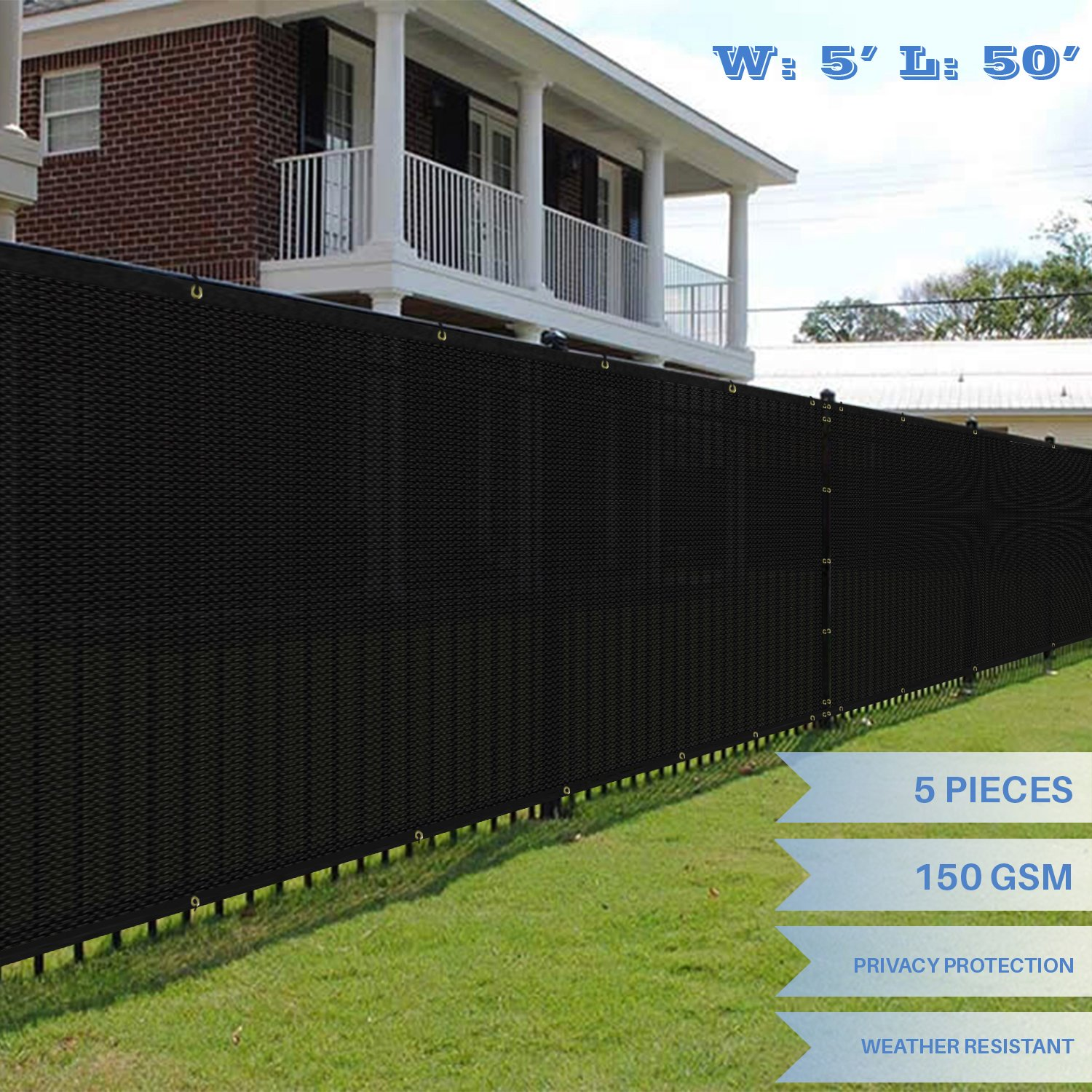 E&K Sunrise 5' x 50' Black Fence Privacy Screen, Commercial Outdoor Backyard Shade Windscreen Mesh Fabric 3 Years Warranty (Customized Sizes Available) - Set of 5