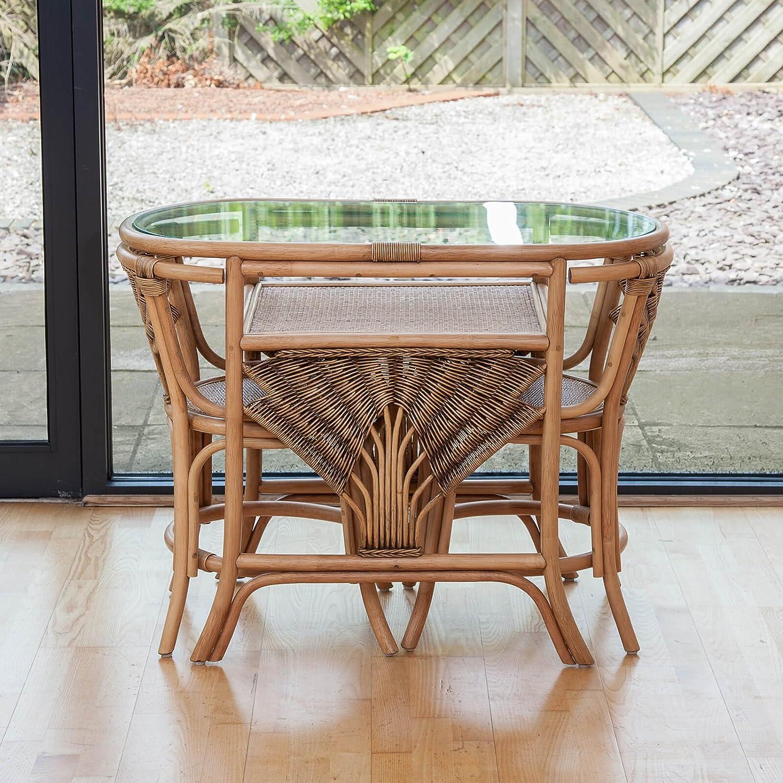 Atlanta Cane Wicker Dining Breakfast Table Chair Set for 2: Amazon ...