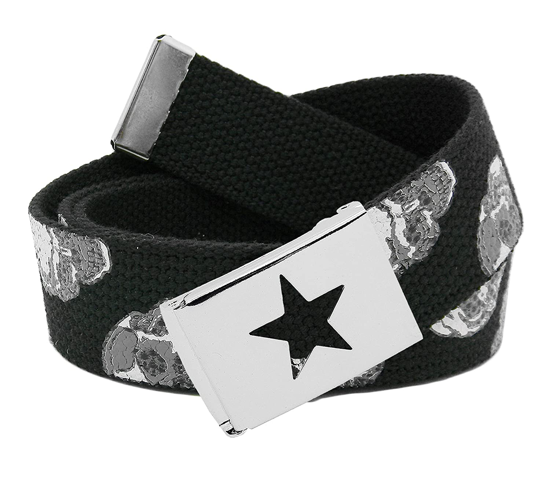 Girls Star Silver Flip Top School Uniform Belt Buckle with Canvas Web Belt 9703G-$P