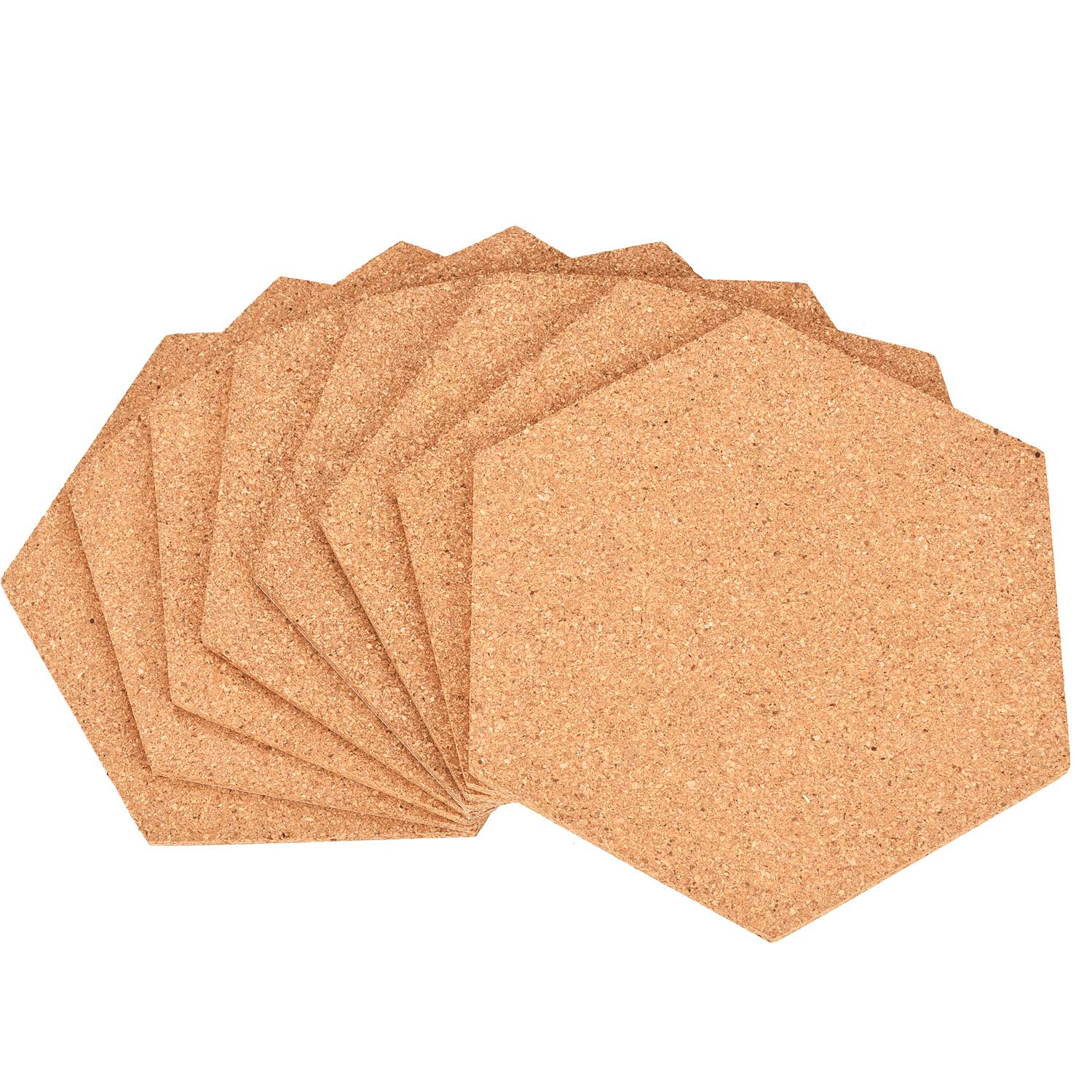 Maxdot 8 Pack Hexagon Shape Cork Board Adhesive Bulletin Board Wood Message Billboard Frameless Picture Boards for Home Office Classroom Wall Decoration (23.5 x 20.5 x 0.6 cm)