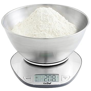 VonShef Báscula de Cocina Electrónica Digital con Bol de Mezcla con Capacidad de 5kg - Acero Inoxidable: Amazon.es: Hogar