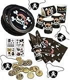 Jolly Roger Piratenset + Partynelly® Bonus, für 8 Kinder, schwarzer Pirat, Teller, Servietten, Becher