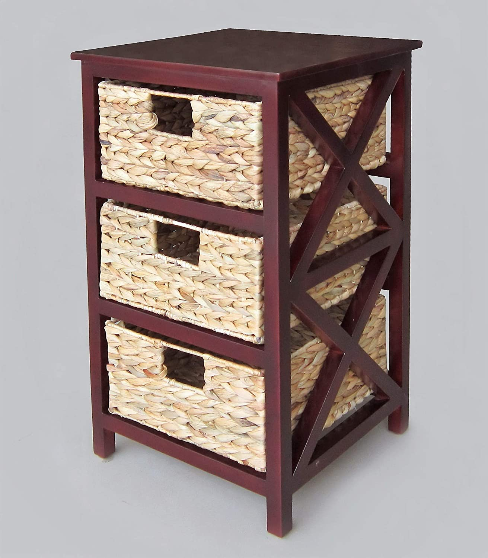 Artra Kommode Beistelltisch Nachttisch Holz 3S ``Lena Dunkelbraun` Nachtkommode Nachtschrank Standschrank Beistellschrank Flurkommode Badschrank mit 3 Körbe