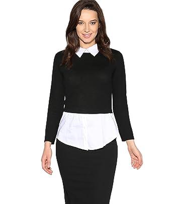 Krisp Women Ladies 2 In 1 Mock Jumper Shirt Top Layer Work Office