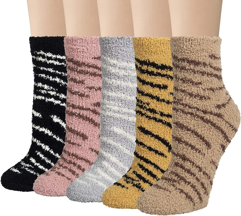 5 Pairs Cat Fuzzy Socks For Women Cute Winter Warm Animal Fluffy Socks Cozy Soft Sleeping slipper Socks