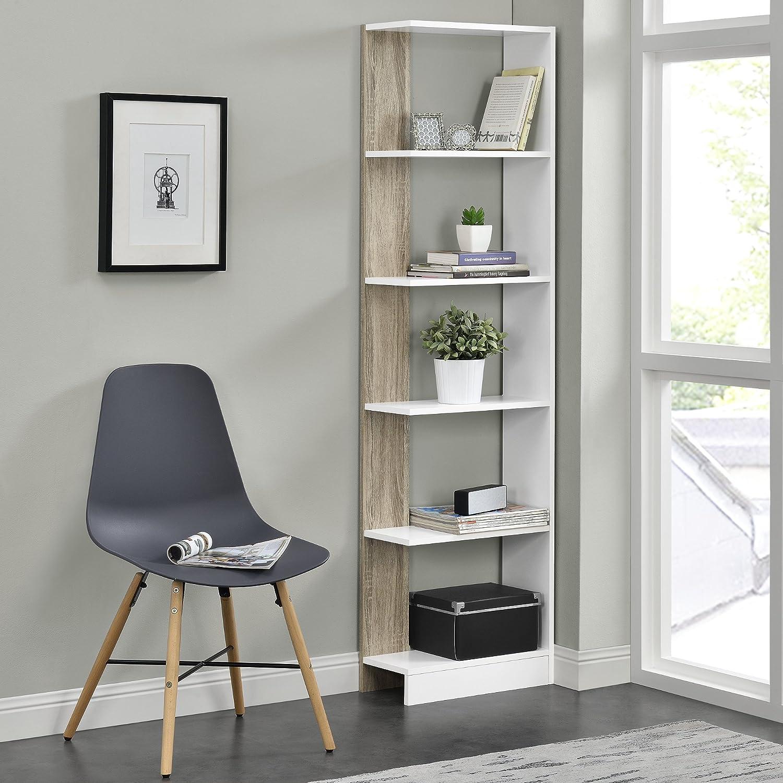 Bianco//Effetto legno 170,5 cm x 45 cm x 21 cm piani MDF en.casa Scaffale libreria