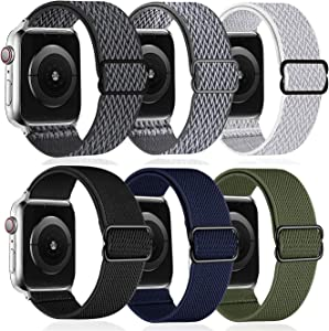 6 Pack - Stretchy Solo Loop Strap Compatible with Apple Watch Bands 44mm 42mm, G.P Adjustable Stretch Braided Sport Elastics Weave Nylon Women Men Wristband Compatible with iWatch Series 6/5/4/3/ SE,7/8