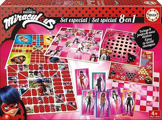 Educa - Set Especial 8 En 1 Miraculous Lady Bug: Juego de la oca, Parchís, Caracoles, Carrera de caballos, Tres en raya, Escaleras y toboganes, Dominó y Juego de personajes, a partir