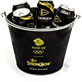 Strongbow Black Metal Ice Bucket Party Drinks Holder Chiller Cooler Home Bar Pub Holds 5 Cans