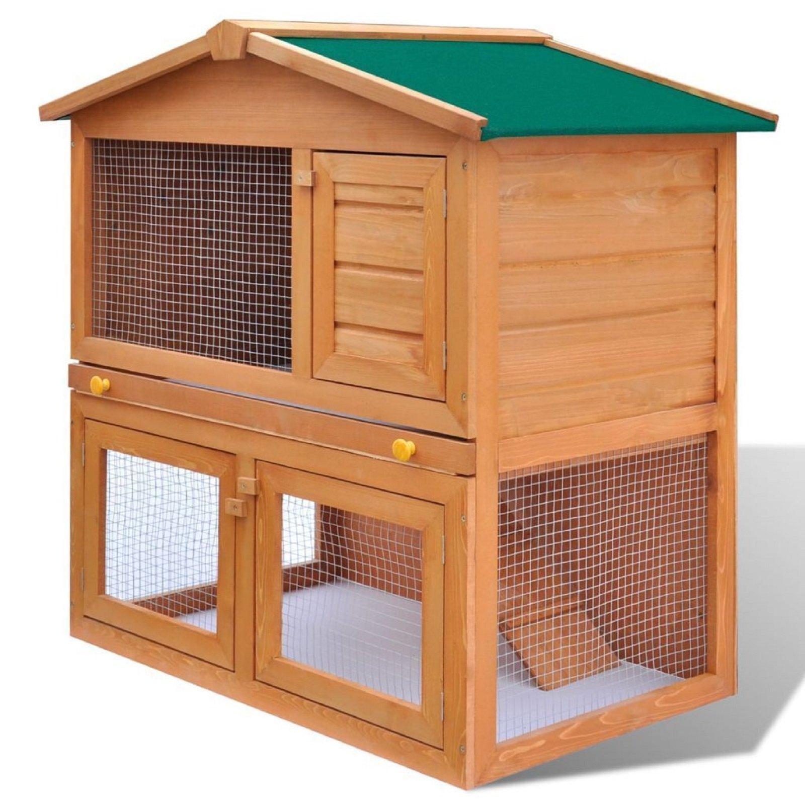 HOT! Outdoor Rabbit Hutch Small Animal House Pet Wooden Cage Chicken Coop w/ 3 Doors