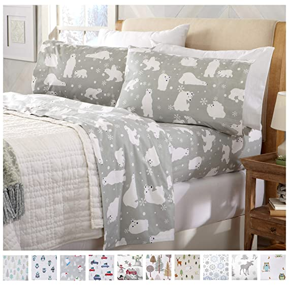 Home Fashion Designs Stratton Collection Extra Soft Printed 100% Turkish Cotton Flannel Sheet Set. Warm, Cozy, Lightweight, Luxury Winter Bed Sheets Brand. (Full, Grey Polar Bears) best twin-sized flannel sheets