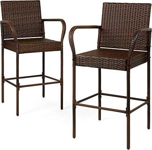 Best Choice Products Set of 2 Indoor Outdoor Wicker Bar Stools Bar Chairs for Patio, Pool, Garden, Deck – Brown