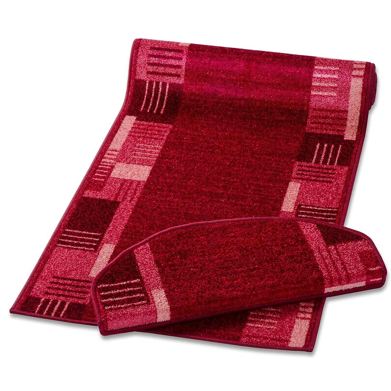 Casa pura Stufenmatten mit Zeitloser Musterung   Rot   Qualitätsprodukt aus Deutschland   Gut Siegel   Kombinierbar mit Läufer   65x23,5cm   halbrund   einzeln Oder im Set (15er-Set)