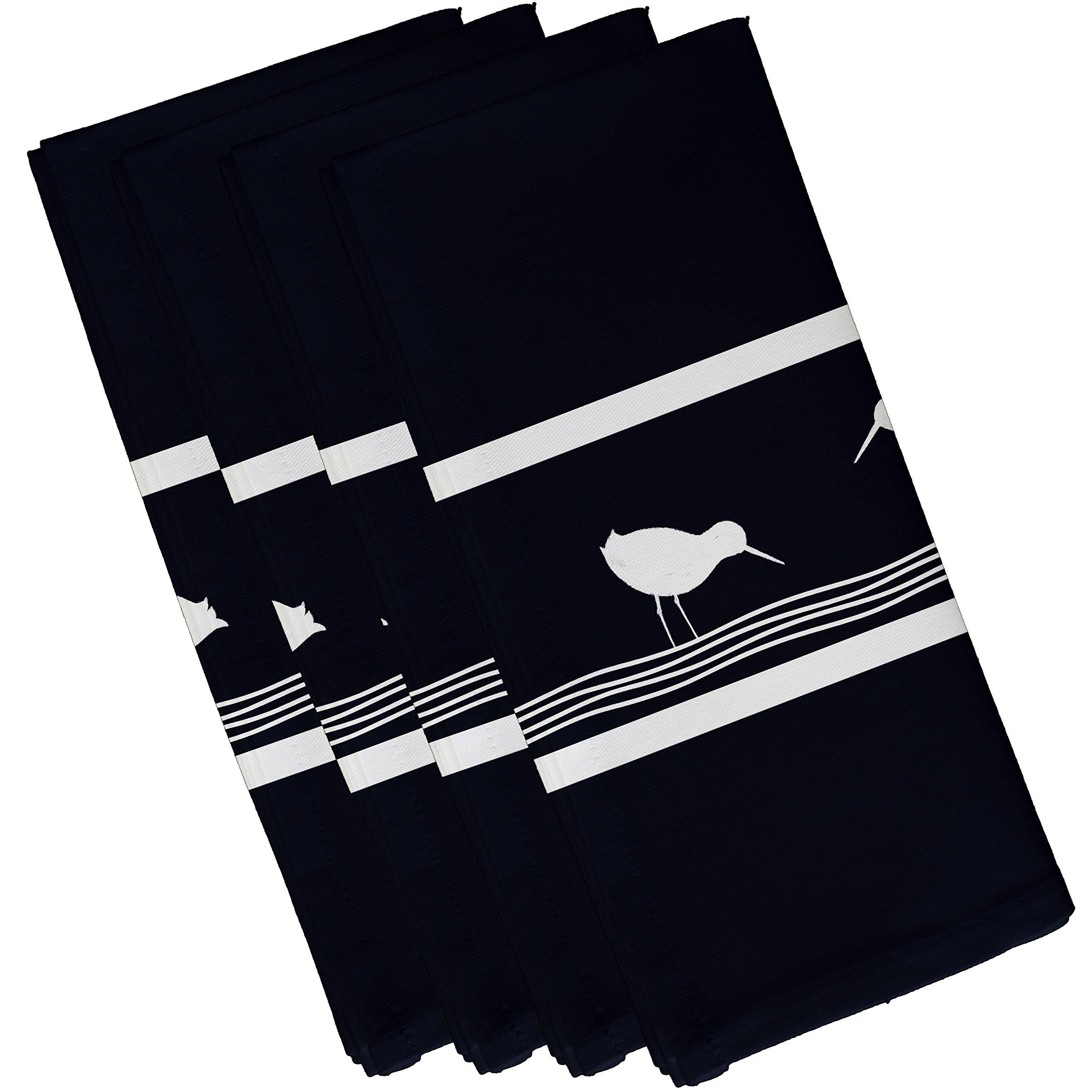 E by design Birdwalk, Animal Print Napkin, 19 x 19'', Navy Blue