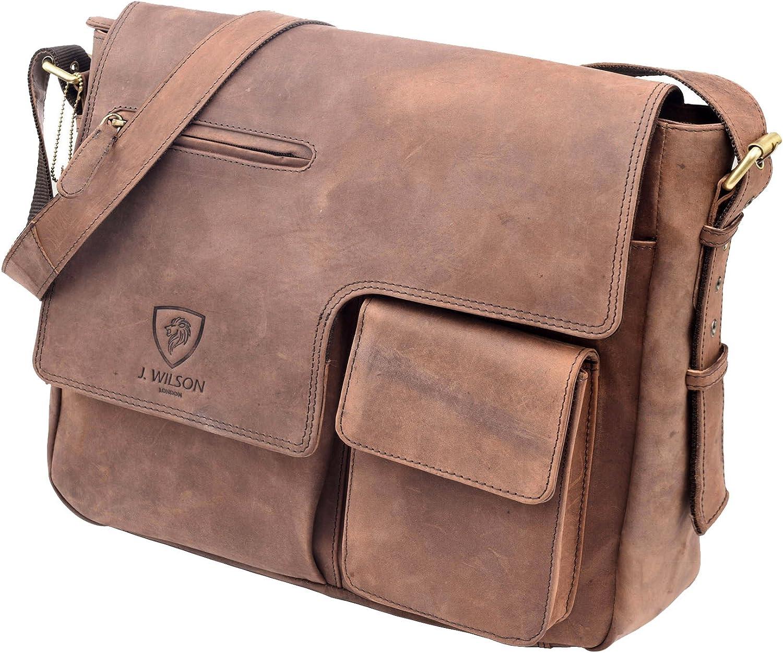 Designer Genuine Real Distressed Vintage Hunter Leather 15 Laptop Handmade Unisex Crossover Shoulder Messenger Briefcase Bag J WILSON London