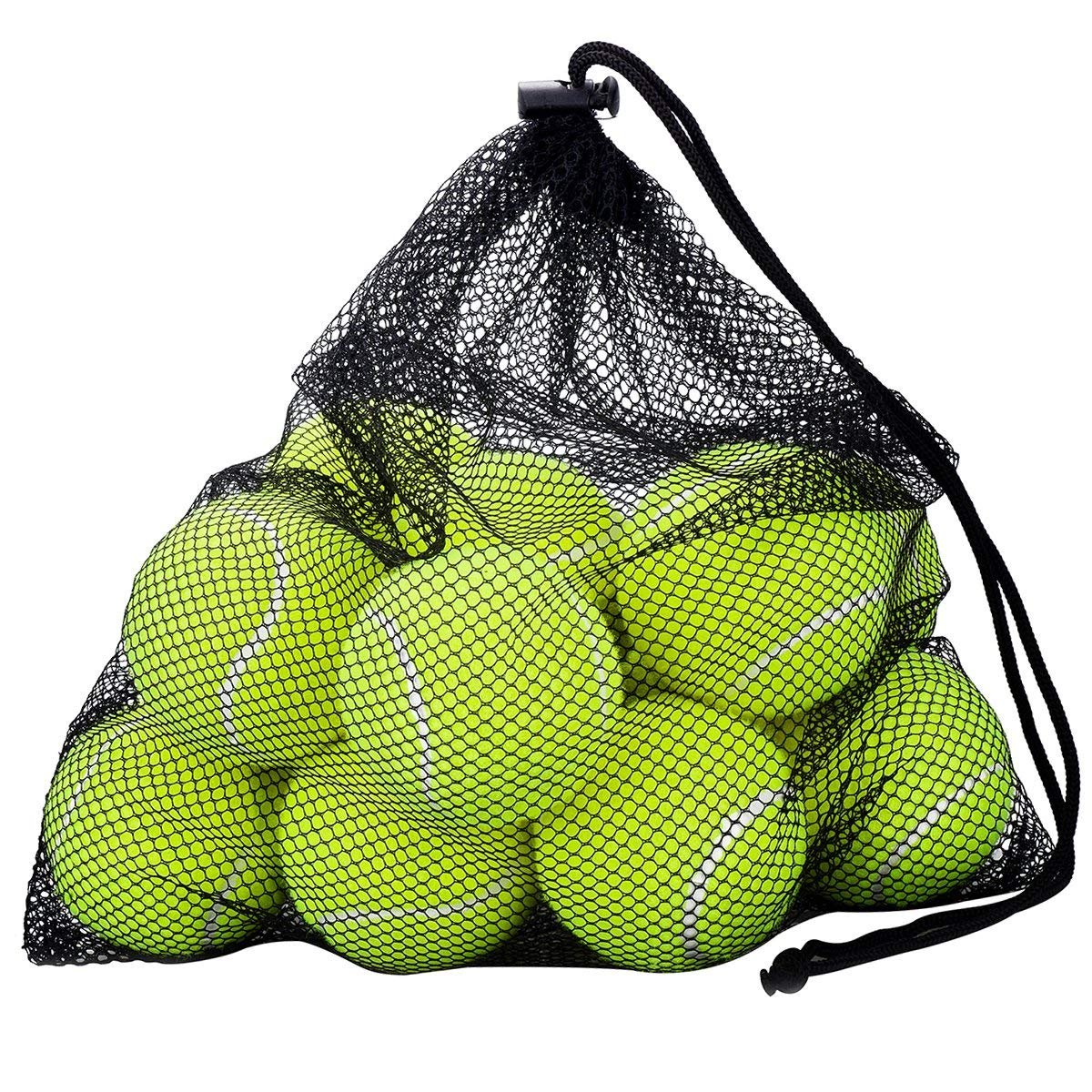Wuudi Mesh Carry Bag of 12 Tennis Balls, Sport Play Cricket Dog Toy Ball, Sturdy & Durable, Great For Lessons, Practice, Throwing Machines & Playing with Pets