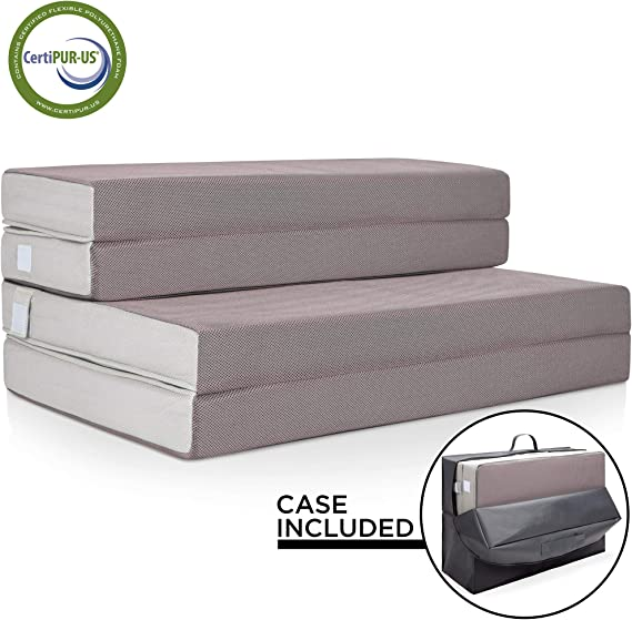 Best Choice Products 4in Thick Folding Portable Twin Mattress Topper w/Carry Case
