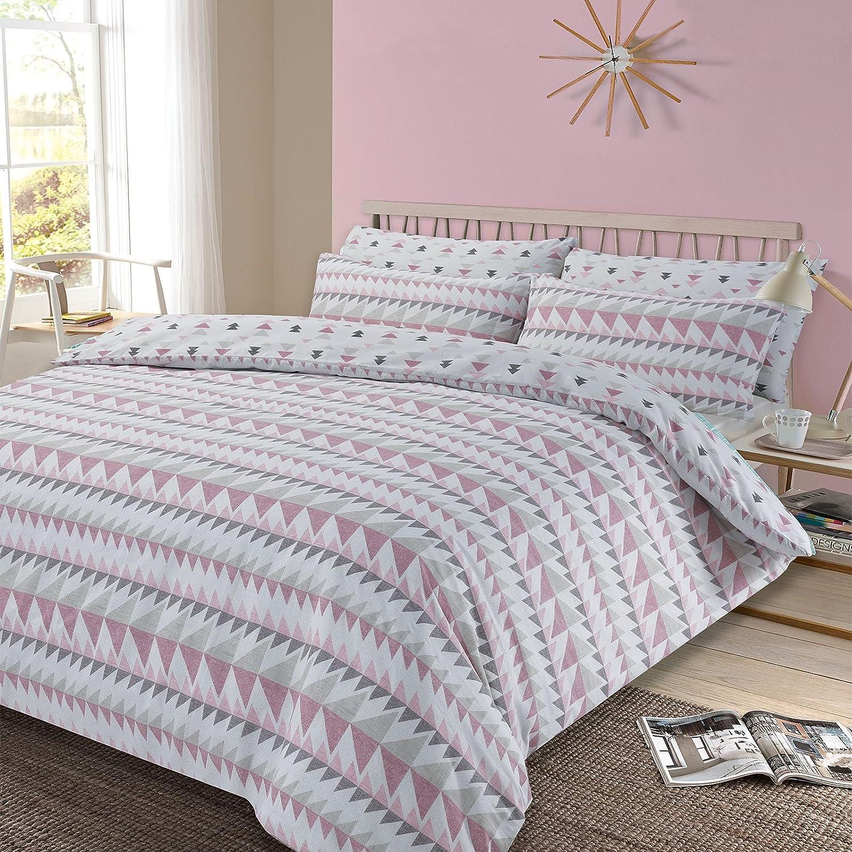 Dreamscene Duvet Cover with Pillowcase Geometric Rewind Bedding Set, Blush Pink White Grey - Double Dreamscene Premium