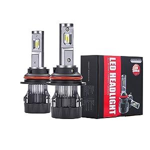 Alla Lighting S-HCR 9007 LED Headlight Bulbs Hi/Low Beam Conversion Kits Replacement 10000Lms Xtreme Super Bright DRL HB5, 6K Xenon White