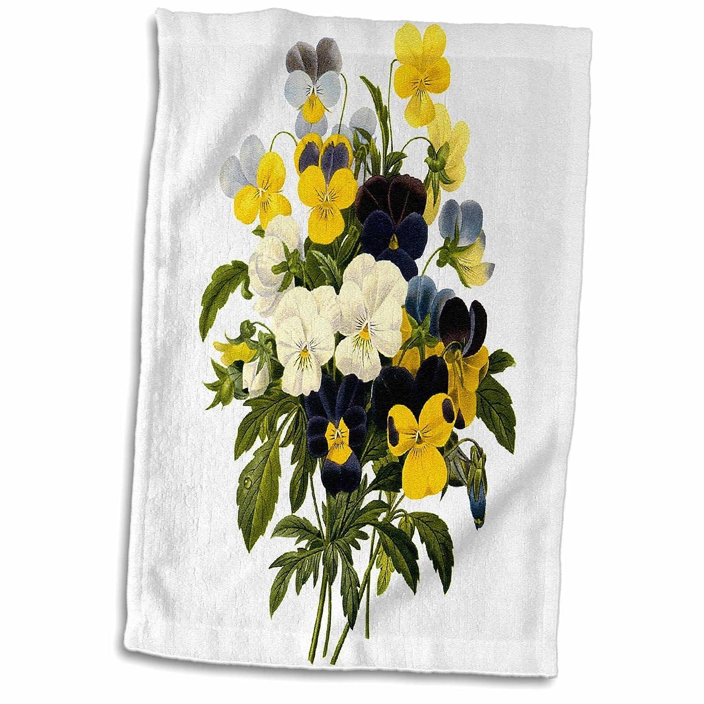 3D Rose Redoute Vintage Watercolor Floral Beautiful Pansies Viola Sp Hand//Sports Towel 15 x 22
