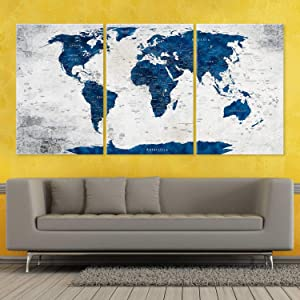 Large Canvas World Map Wall Art, Push Pin Travel Map, Navy Blue Adventure Awaits Decoration Object, Home, Office, Living Room Decor