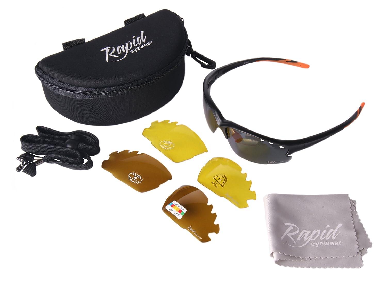 750bdec410652 Rapid Eyewear  Fusion  Lunettes SOLAIRES Sport  POLARISÉES pour Hommes et  Femmes. Verres interchangeables Miroir. Lunettes de Soleil pour  l athlétisme