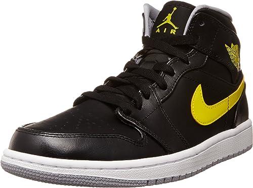 cuadrado provocar sí mismo  Amazon.com: Jordan Nike Air 1 Mid Negro/Vibrante Amarillo/Wolf ...
