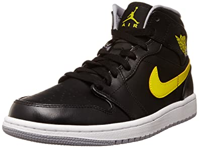 efff4a921640f9 Image Unavailable. Image not available for. Color  Jordan Nike Men s Air 1  Mid Black Vibrant Yellow Wolf Grey Basketball Shoe 10