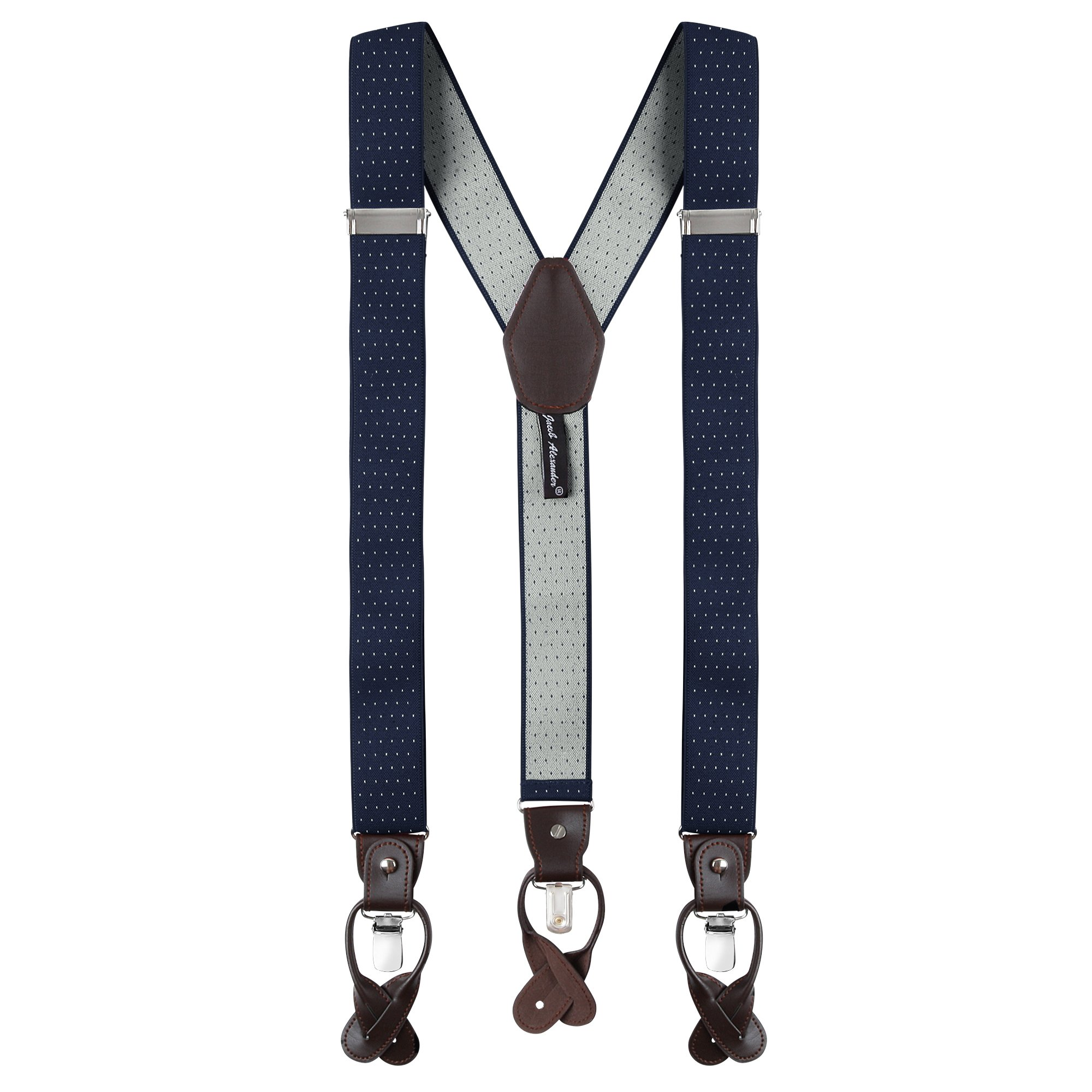 Jacob Alexander Men's Small Dots Y-Back Suspenders Braces Convertible Leather Ends Clips - Navy White