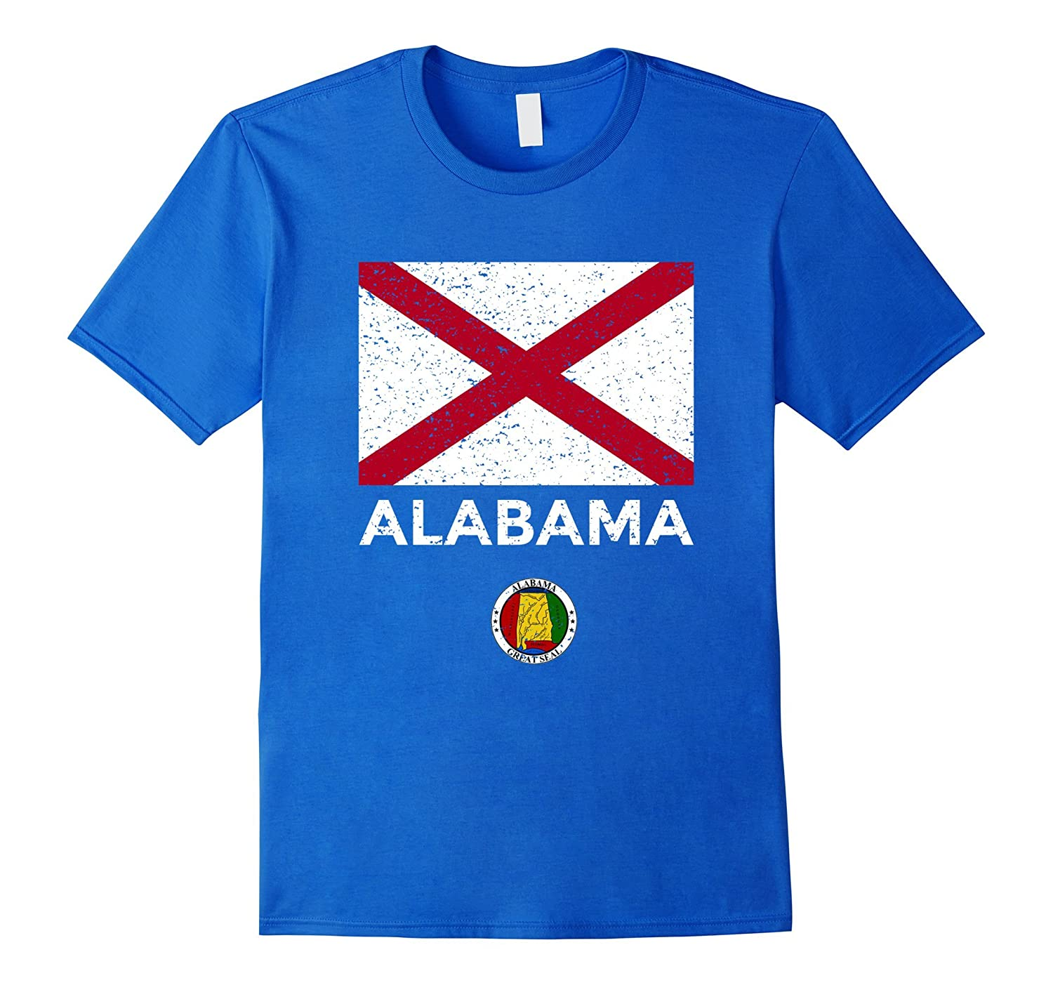 Alabama State Flag T-Shirt with Seal - Vintage Distressed-AZP