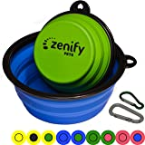 Zenify Dog Bowl Food & Water Feeder 2 Pack - Extra Large 1000ml 17.8cm & Small 400ml 12.7cm Collapsible Portable Foldable Travel Dish Leash Lead Slim Accessories for Puppy Dogs (Blue XL/Green S)