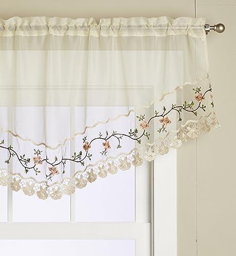 Editex Home Textiles Rose Garden Valance, 60 by 26-Inch, Ecru Ecru