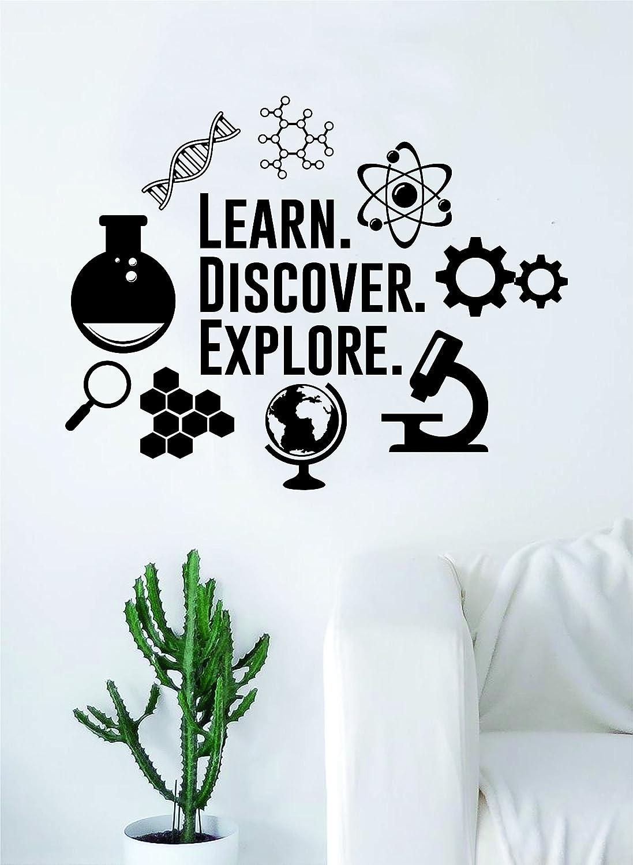 Learn Discover Explore Original Quote Decal Sticker Wall Vinyl Art Home Room Decor Teacher School Classroom Science Atom Beaker DNA Gears