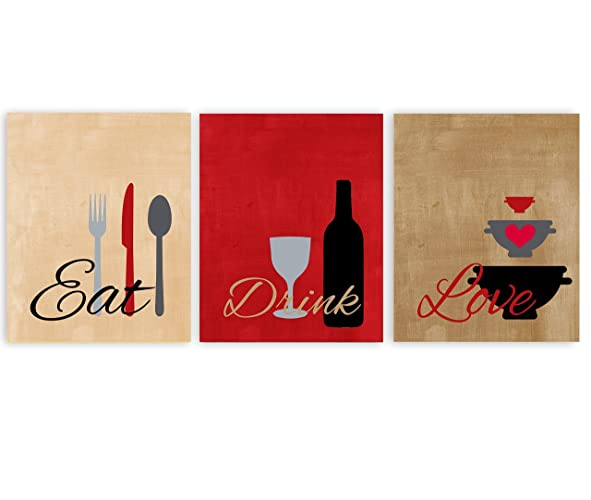 Amazon.com: Eat Drink Love Country French Kitchen Wall Art in Red ...