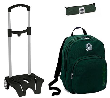 522a4c0e1b Zaino Scuola Invicta + Easy Trolley + Portapenne - Verde- Doppio Scomparto  - elementari e