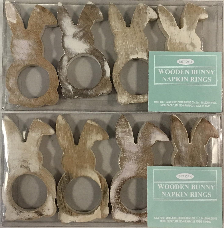 Nantucket H Wooden Easter Bunny Rabbit Napkin Rings Set of 8