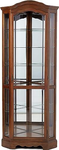 5-Shelf Corner Curio Cabinet Medium Brown and Clear