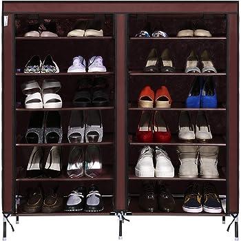 Two Row 6 Storey 12 Lattice 4 Pocket Exterior Portable Shoe Rack Shelf  Storage Shoes Closet