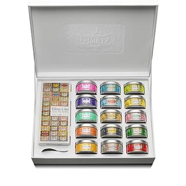 Kusmi Tea - Premium Collection - 15 tins of loose leaf flavored teas sampler and infuser - Perfect Tea Gift Set
