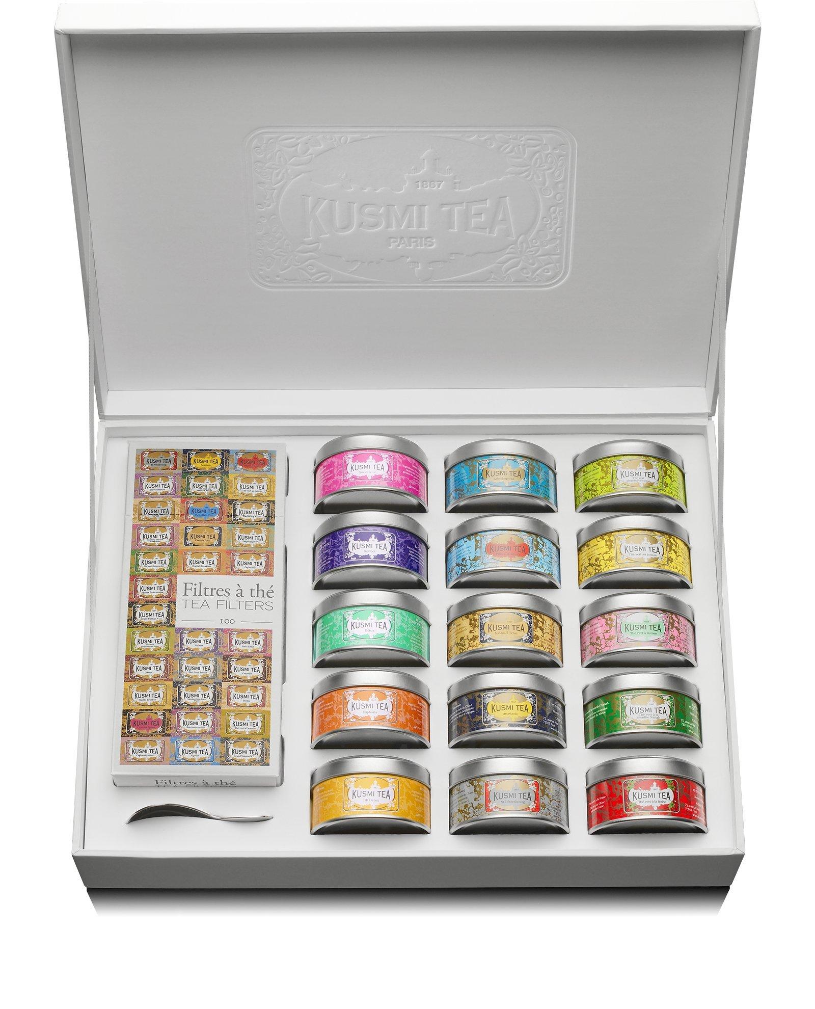 Kusmi Tea - Premium Collection - 15 tins of loose leaf flavored teas sampler and infuser - Perfect Tea Gift Set by KUSMI TEA (Image #1)