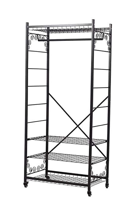 Perchero de Acero Resistente con Estantes Ajustables y Ruedas 73,6 x 44 x 166cm(Barra Individual)