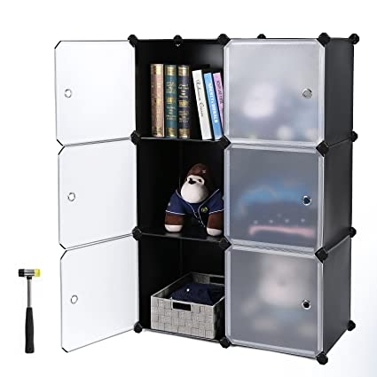 Genial SONGMICS Storage Cube, Plastic Cube Organizer, DIY Modular Closet Cabinet,Bookcase  With Doors